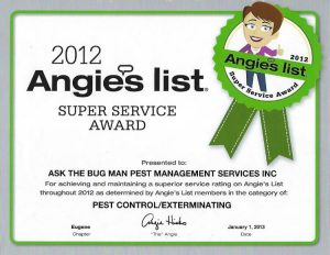Ask the Bug Man Oregon awarded Angie's List super service award, 2012, for pest control, Eugene, Springfield, Florence, Salem and Roseburg