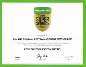 Ask the Bug Man Oregon awarded Angie's List super service award for pest control Eugene, Springfield, and other areas