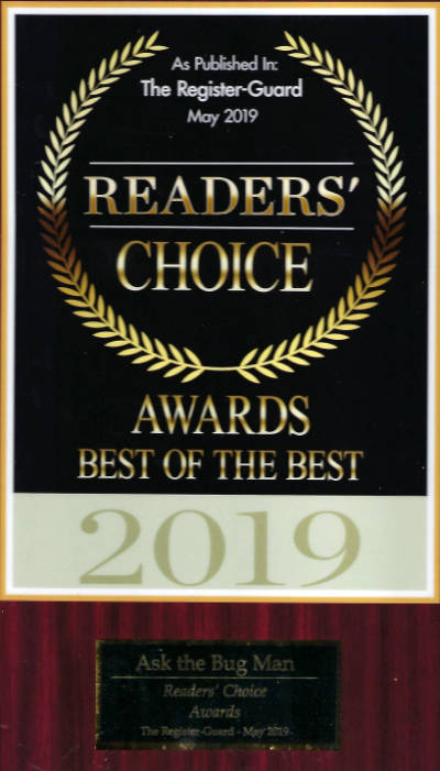 Ask the Bug Man Oregon voted Readers' Choice Best of the Best 2019 from The Register-Guard for pest control Eugene and beyond