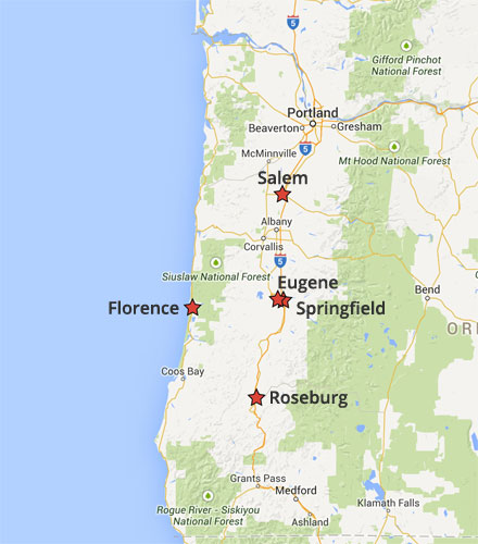 Need an exterminator Eugene? Here's a map showing some of Ask the Bug Man Oregon service areas.